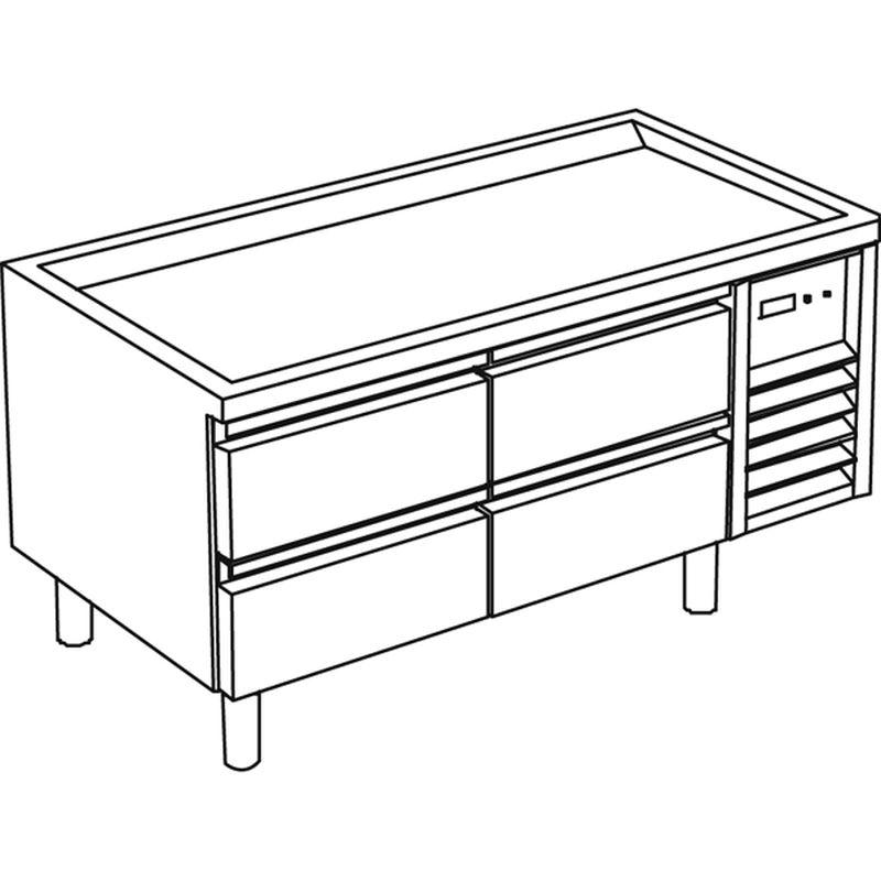 k hl unterbau mit 4 schubladen ohne arbeitsplatte kbs gastrotechnik. Black Bedroom Furniture Sets. Home Design Ideas