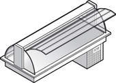 Einbaukühlvitrine Compact mit Kühlplatte - gebogenes Glas - Selbstbedienungsklappen KBS Gastrotechnik