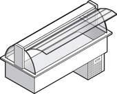 Einbaukühlvitrine Compact mit Kühlwanne - gebogenes Glas - Selbstbedienungsklappen KBS Gastrotechnik